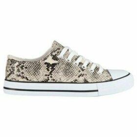 Krisp  Snake Print Low Top Trainers  women's Shoes (Trainers) in Beige