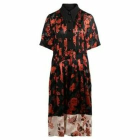 Tory Burch  midi dress with red floral pattern  women's Long Dress in Black