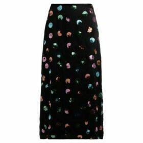 Rixo  Kelly midi skirt in black silk with Watercolor print  women's Skirt in Black