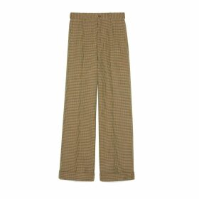 Houndstooth wool cuffed trousers