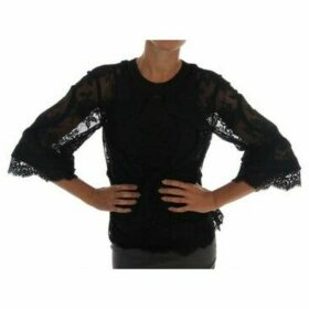 D G  Black Floral Lace Cutout Silk Top  women's Vest top in multicolour
