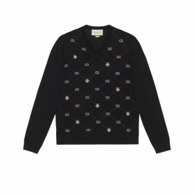 Symbols wool jacquard V-neck jumper