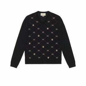 Symbols wool jacquard V-neck jumper