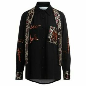 5 Progress  black shirt with applied foulard and multicolor  women's Shirt in Black
