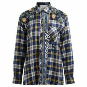 5 Progress  blue tartan shirt with applications  women's Shirt in Blue