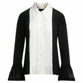 Tory Burch  shirt in black tuxedo style silk  women's Shirt in Black