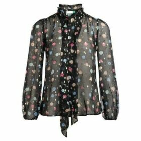 Rixo  shirt Moss model in black silk with watercolor print  women's Shirt in Other