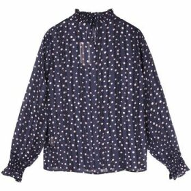 Frnch  CHRISLINE Polka Dot Long Sleeve Stand Collar Blouse  women's Blouse in Blue