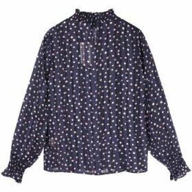 Frnch  CHRISLINE Polka Dot Long Sleeve Stand Collar Blouse  women's Blouse in Blue