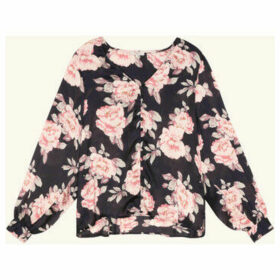 Frnch  Long sleeve V-neck blouse with pink print CECILLE  women's Blouse in Blue