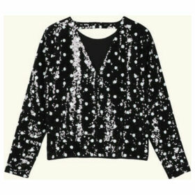 Frnch  CANSEL Polka Dot Backless Sequin Blouse  women's Blouse in Black