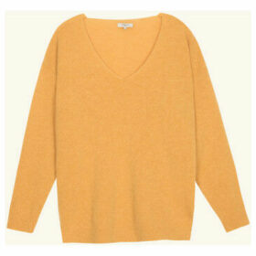 Frnch  V-neck long-sleeved knit sweater NAGETE  women's Sweater in Yellow