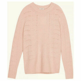 Frnch  Long-sleeved crew neck sweater in NORTH knit  women's Sweater in Pink