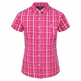 Regatta  Jenna III Short Sleeve Checked Shirt Pink  women's Shirt in Pink