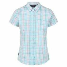 Regatta  Jenna III Short Sleeve Checked Shirt Blue  women's Shirt in Blue