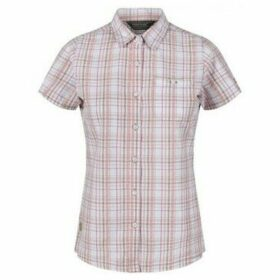 Regatta  Jenna III Short Sleeve Checked Shirt Natural  women's Shirt in Beige