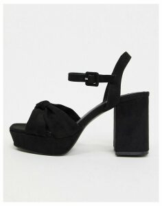 Topshop platform heeled sandals in black