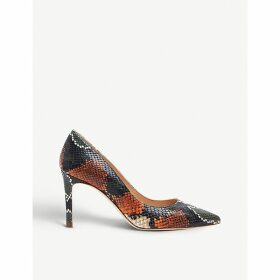 Floret snakeskin-embossed leather courts