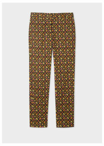 Women's Classic-Fit Black 'Ditsy Beetle' Print Stretch-Cotton Trousers
