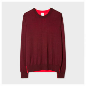 Women's Burgundy Wool And Silk-Blend Sweater With Contrast Panel