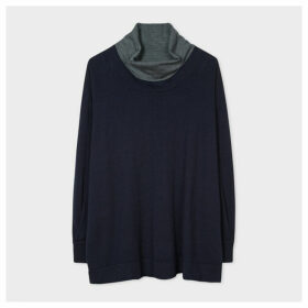 Women's Dark Navy Funnel Neck Wool-Blend Sweater