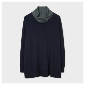 Women's Dark Navy Funnel Neck Wool-Blend Sweater
