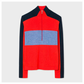 Women's Red Colour-Block Half-Zip Wool Sweater
