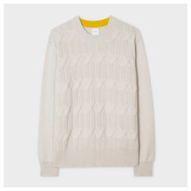 Women's Ecru Cotton-Cashmere Cable-Knit Sweater