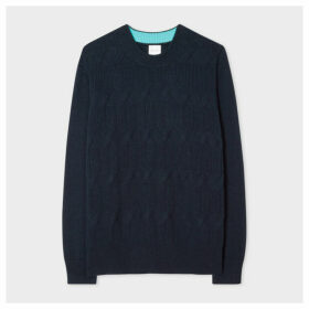 Women's Dark Navy Cotton-Cashmere Cable-Knit Sweater