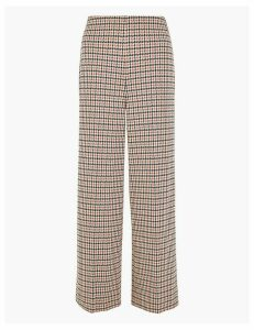 M&S Collection Checked Ponte Wide Leg 7/8th Trousers