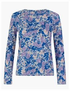 M&S Collection Pure Cotton Floral Slub Long Sleeve Top