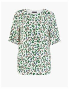 M&S Collection Floral Bib Detail Woven Blouse