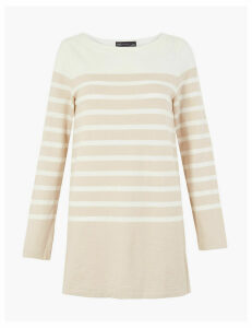 M&S Collection Pure Cotton Striped Longline Sweatshirt