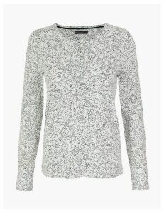 M&S Collection Pure Cotton Floral Henley Long Sleeve Top