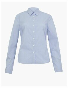 M&S Collection Cotton Rich Striped Fitted Shirt