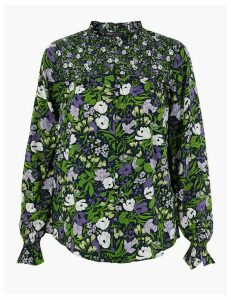 M&S Collection Floral Print Ruffle Neck Blouse
