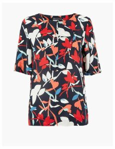 M&S Collection Floral Print Bib Front Blouse