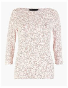 M&S Collection Cotton Rich Floral 3/4 Sleeve Fitted T-Shirt