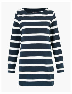 M&S Collection Pure Cotton Striped Longline Tunic