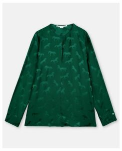 Stella McCartney Dynasty green Horse Jacquard Blouse, Women's, Size 12