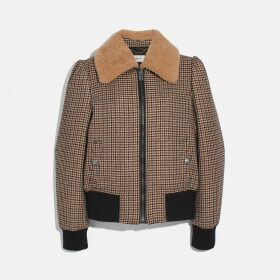 Coach Check Bomber Jacket With Removable Shearling Collar