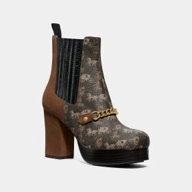 Coach Chelsea Platform Bootie With Horse And Carriage Print