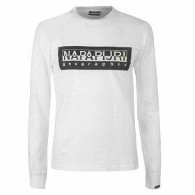 Napapijri Tribe Sele Long Sleeve Large Logo T Shirt - White