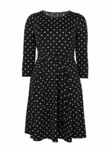Black Polka Dot Fit And Flare Dress, Black/White