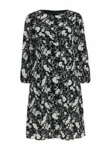 Black Floral Print Midi Dress, Black/White