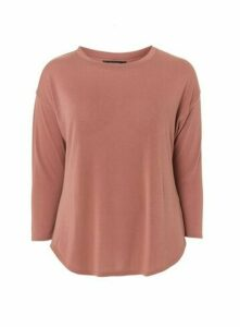Neutral Curve Hem Long Sleeve Top, Nude