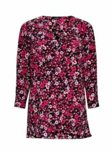 Pink Ditsy Floral Shirt, Pink