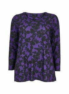 Purple Floral Print Soft Touch Top, Purple