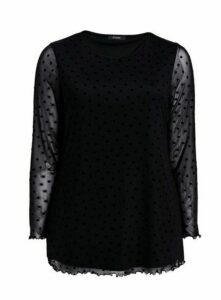 Black Mesh Polka Dot Mesh Top, Black