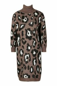 Womens Petite Roll Neck Leopard Knit Dress - Brown - M, Brown